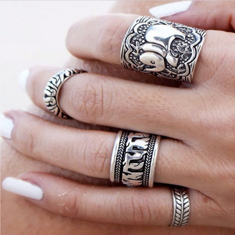 bohemian style 4pcspck vintage anti silver color rings elephant totem leaf lucky rings set for women party free shipping - Bohemian Wedding Rings