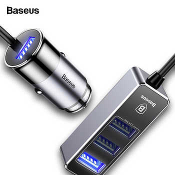 Baseus Multi 4 Ports USB Car Charger Multiple 5.5A Turbo Fast Car Charging USB Charger For iPhone X Samsung Xiaomi Mobile Phone - DISCOUNT ITEM  45% OFF All Category
