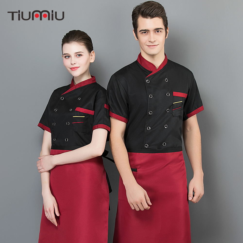 2019 New Short Sleeves Patchwork Chef Jacket Food Service Cuisine Cook Workwear Shirt Kitchen Cake Shop Work Uniforms Wholesale