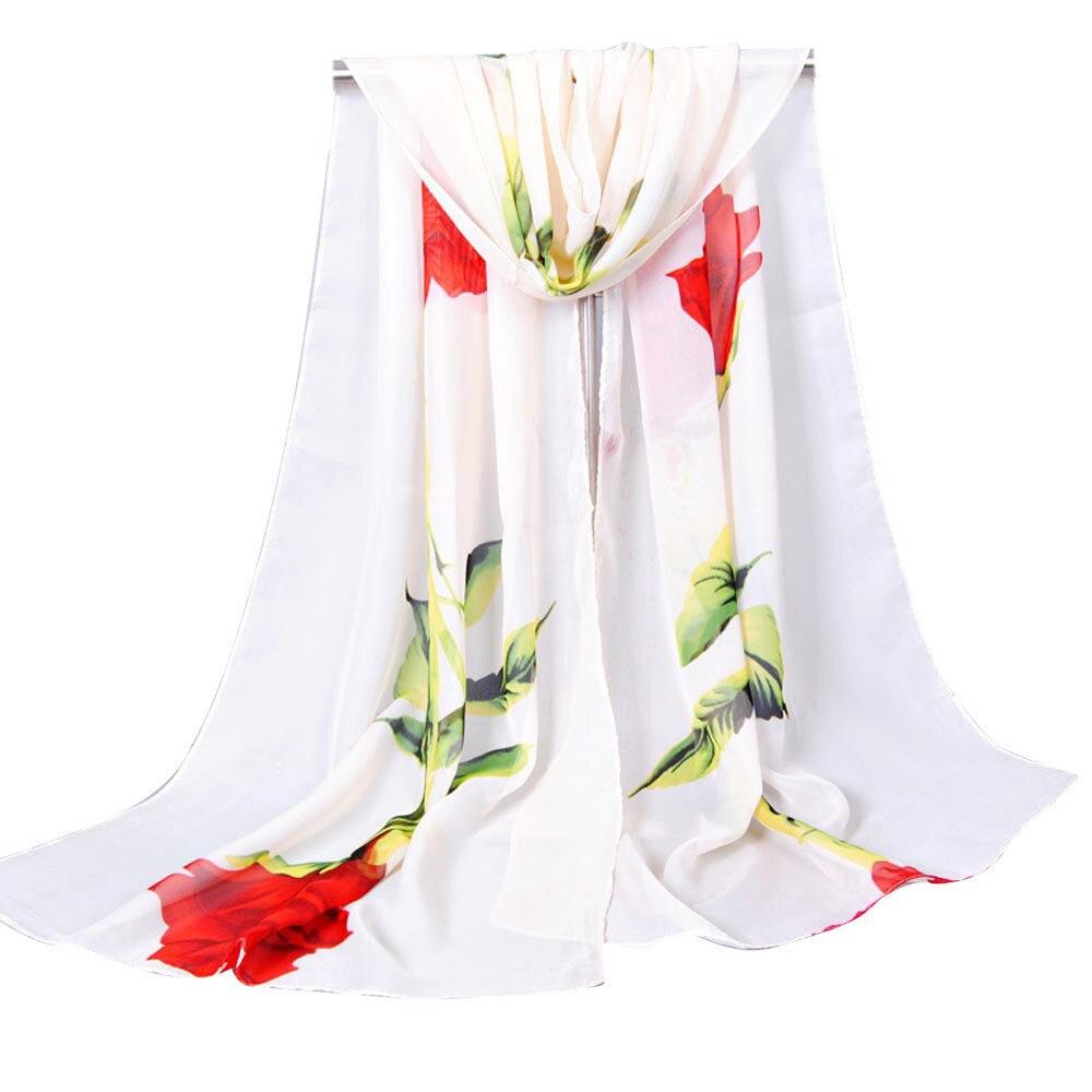 2018 Long  scarf women Lovely Rose Soft Wrap Scarf Ladies Shawl Chiffon Scarves good quality hot sale  foulard femme