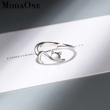 ModaOne Cute Cat 925 Sterling Silver Ring For Women Animal Opening Jewelry anillos mujer plata para bague femme