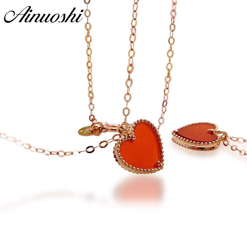 AINUOSHI Роскошный 18 К розовое золото Женское Ожерелье Подвески натуральный красный агат в форме сердца обручение Женское Ожерелье Подвески Юв