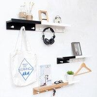 Creative Nordic Style Partition Shelf Wall Hanging Solid Wood Hook Shelf Set top Decor Wall Shelves Coat Hooks DIY Home Decor