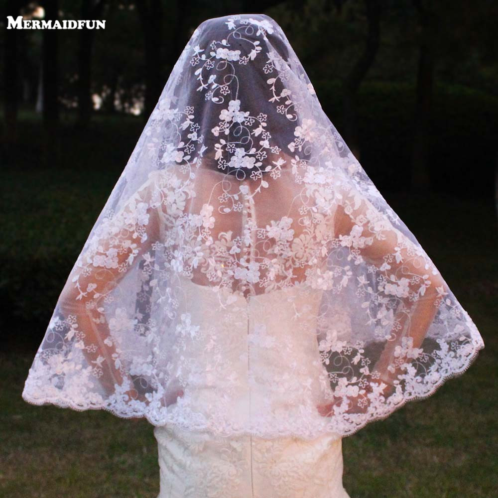 Bridal Veils Short Flower-Lace Face One-Layer WITHOUT Woodland Comb-Cover