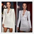 Newest Celebrity White Long Sleeve V-neck Jacquard Bandage Dress Hollow Out Party Bodycon Dress