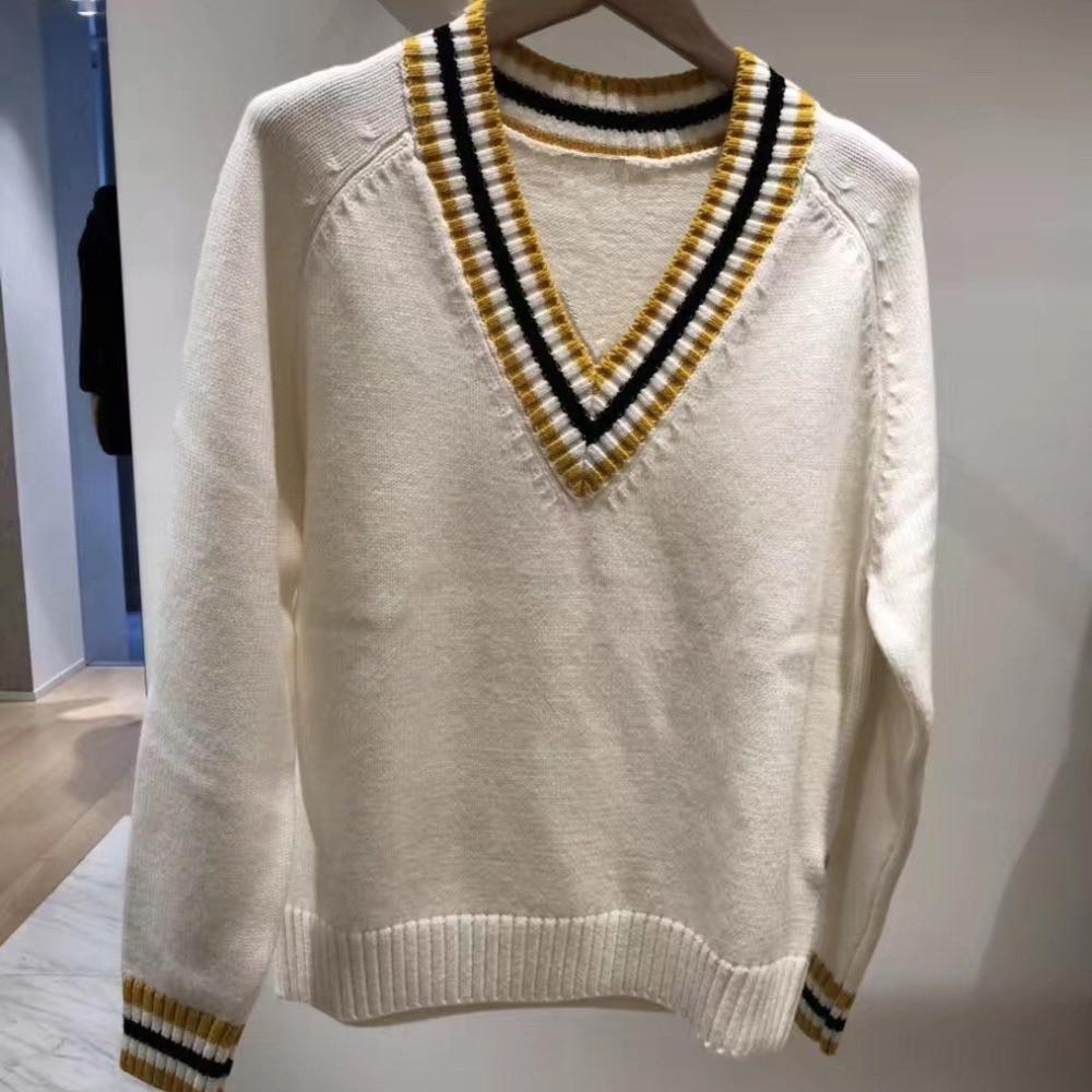 49Laine D959 Preppy Femmes Pulls Tops France Col Chic Tricots Printemps Chandails Style Blanc V De À 2019 EIDbeW92YH