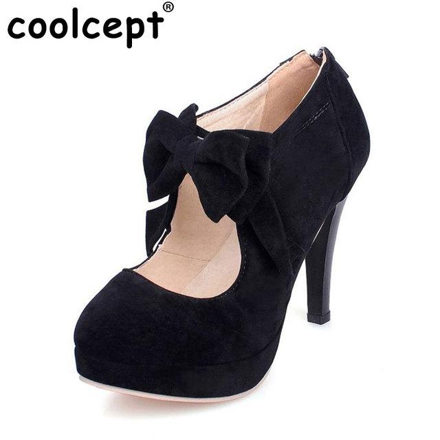 Las mujeres del dedo del pie redondo zapatos de mujer de tacón fino pupms pajarita moda bowknot calzado de tacón alto zapatos de tacón zapatos de fiesta más tamaño 30-47 PB00122