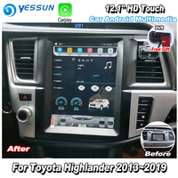 YESSUN 12.1'' HD Vertical Screen For Toyota Highlander 2013~2019 Car Radio Android Carplay GPS Navi maps Camera Touch no CD DVD