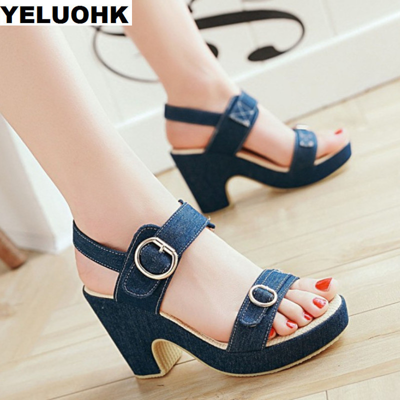 Brand Denim Sandals Women Shoes Platform Women Sandals 2018 New High Heels Buckle Women Summer Shoes Pumps Casual Shoes xiaying smile woman sandals shoes women pumps summer casual platform wedges heels sennit buckle strap rubber sole women shoes