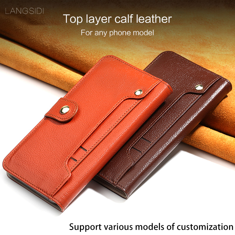 Genuine Leather Flip case For Xiaomi Redmi 5A Litchi texture rotate external Card Slots Magnetic buckle Wallet Style holster