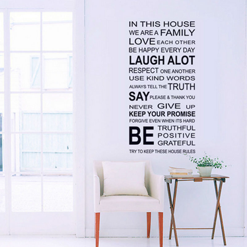 1pcs English Proverbs Wall Sticker Family House Rules Wall Stickers