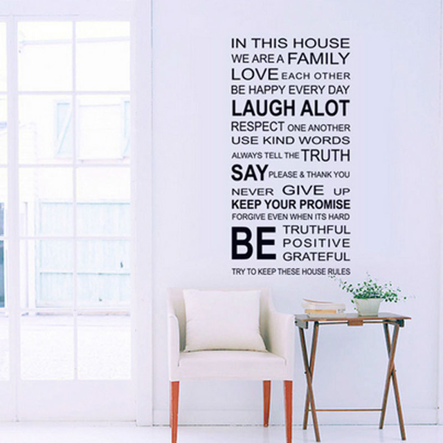 English Proverbs Wall Sticker Family House Rules Wall Stickers Decal  Removable Decor Home Kids Great Gift Part 60
