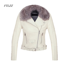 Ftlzz New 2018 Women Winter Faux Leather Jacket Warm Large Fur Collar Lady Motorcycle Pu Faux Soft Leather White Black Pink Coat