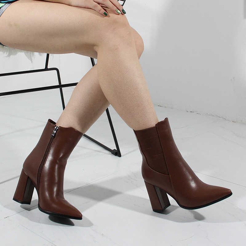 2020 Herfst Hoge Hak Laarzen Vrouwen Korte Laarzen Merk Designer Fashion Office Lady Schoenen Nysiani Wees Teen Elastische Band Schoenen