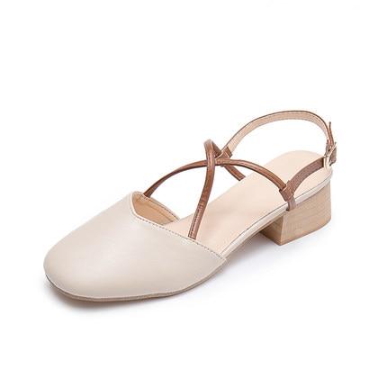 Nuevo Tacones Abuela Las Verano Femenino Cuero La Sandalias En Zapatos Con Bombas 2018 Baotou Mujeres Retro De Cuadrado j5LRq34A