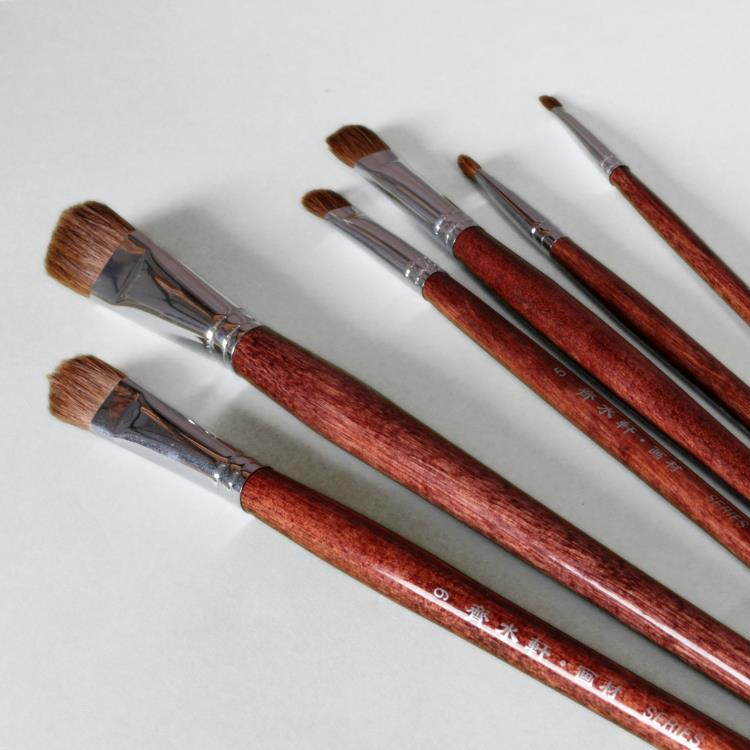6Pcs Qishuixuan Weasel Hair Oil Paintbrush Set Round Head Wood Handle Artist Paint Brush For Oil Acrylic Painting Art Supplies 6pcs set qishuixuan bristle blend oil painting brush thick hard brushes to paint acrylic paints for drawing artist paint brush