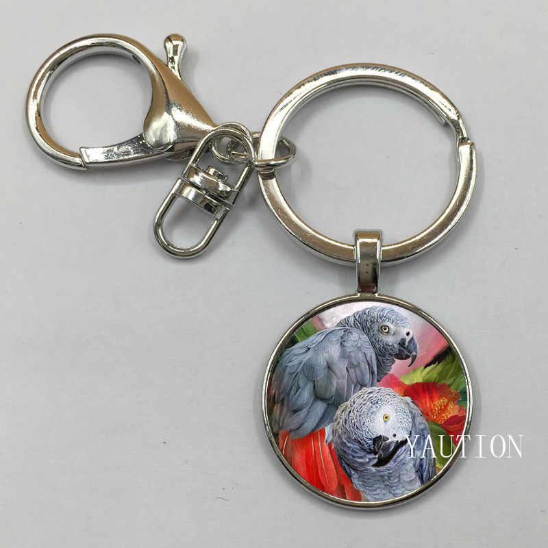 New Congo Phi Red Tail Xám Parrot Pendant Keychain Glass Cabochon Xmas Chim Quà Tặng Trang Sức cho Phụ Nữ