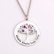 Circle Tree Pendant Necklace with Birthstones 2016 New Arrival Long Birthstone Necklaces Custom Made Any Name YP2495 стоимость