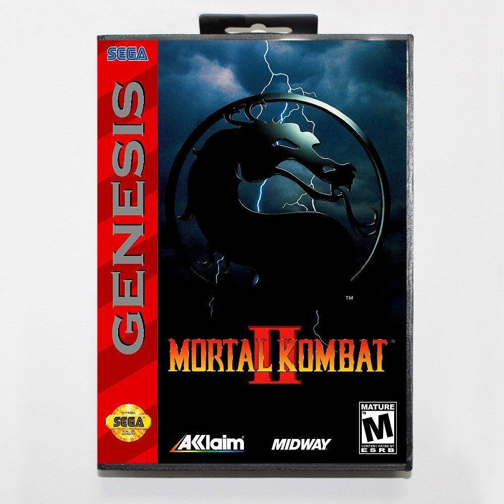 Mortal Kombat II Game Cartridge 16 bit MD Game Card With Retail Box For Sega Mega Drive For Genesis