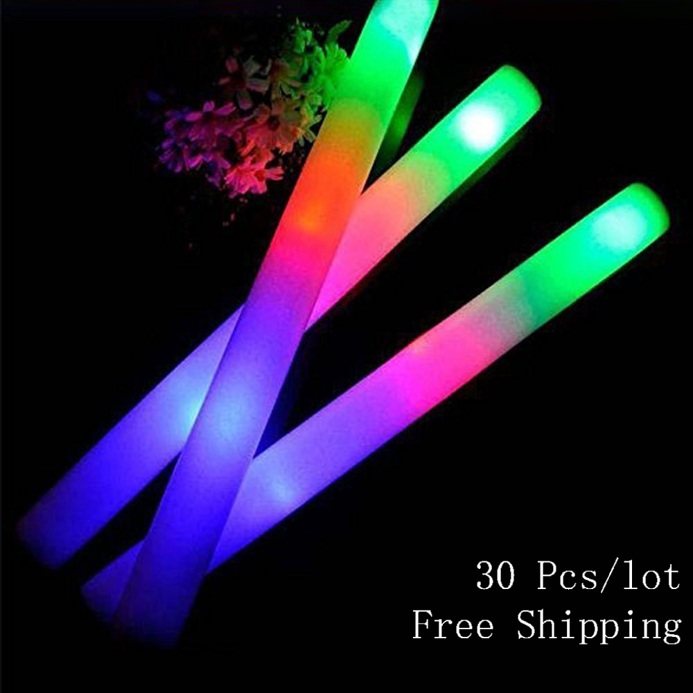 30pcs Colorful Flashing LED Glow Stick Light Up For Wedding Birthday Party Cheering Sticks