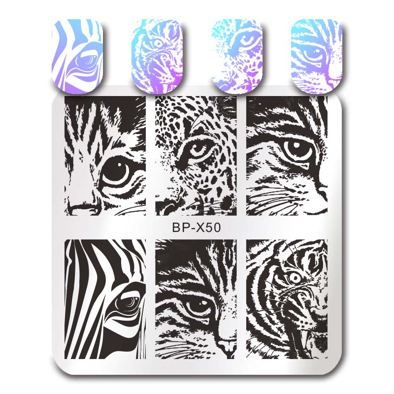 Geometric Reverse Stamping Nail Art Born Pretty Review: BORN PRETTY Square Nail Stamping Template Cat Tiger Leaf
