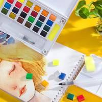 Acuarelas Profesionales Портативный твердый пигмент акварельные краски в наборе с Кисть Акварельная ручка для Краски ing Aquarel товары для рукоделия