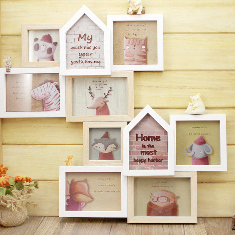 2017 vintage multi picture frames wooden photo frame multi 5 picture hanging wood craft gift wall