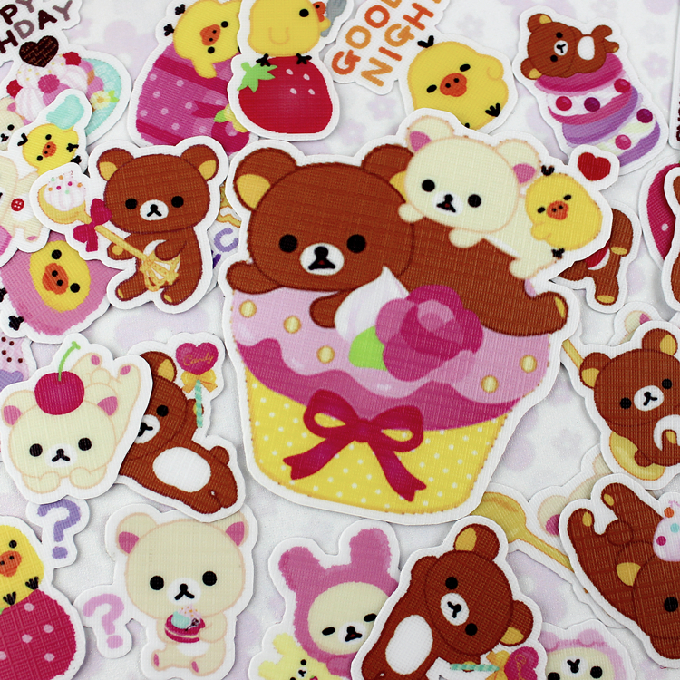 40pcs creative kawaii self-made relaxed Bear 2 scrapbooking stickers /decorative sticker /DIY craft Photo album 14pcs creative kawaii lovely cute self made victoria rabbit animal stickers trolley case computer notebook stickers luggage