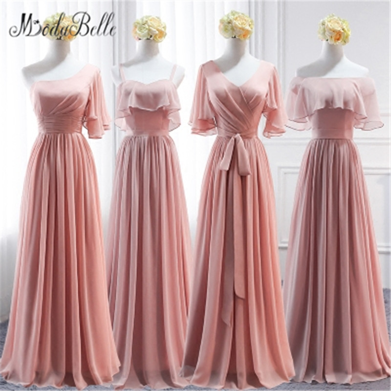 modabelle Chiffon Long   Bridesmaid     Dress   Pink A-line Women For Party Wedding Floor Length Robes Demoiselles D Honneur Adulte
