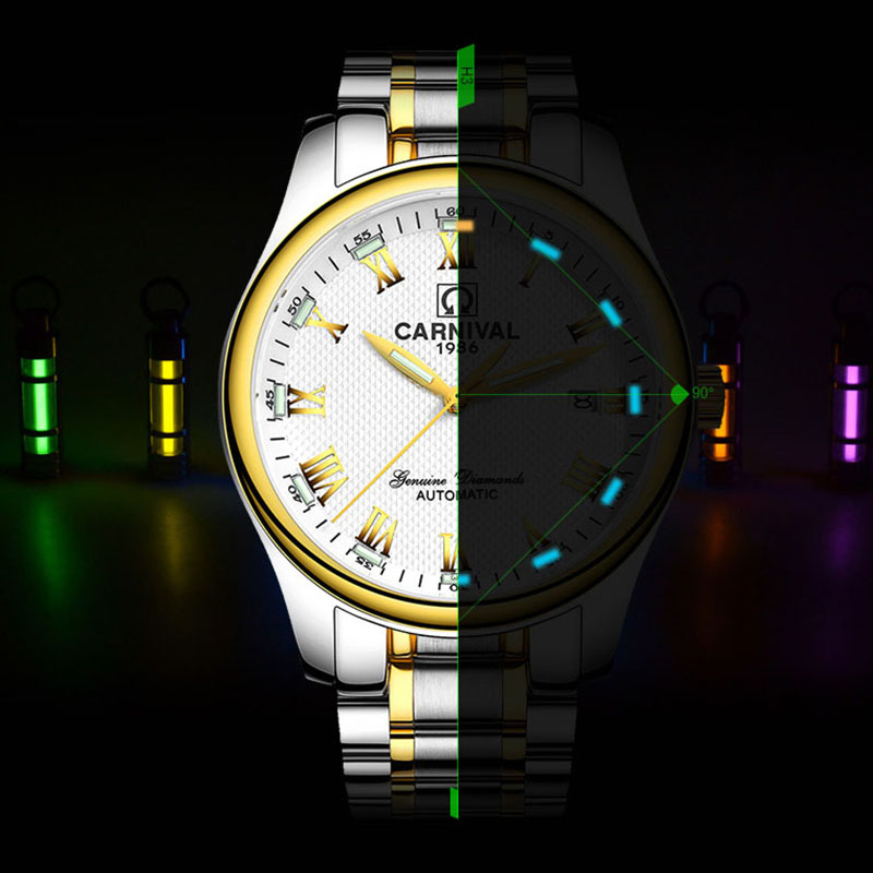Carnival Blue Tritium Watch Men Automatic Mechanical Luminous Stainless Steel Waterproof Date Roman Watches carnival green tritium watch men automatic mechanical luminous silver stainless steel waterproof date week watches