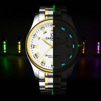 Carnival Blue Tritium Watch Men Automatic Mechanical Luminous Stainless Steel Waterproof Date Roman Watches
