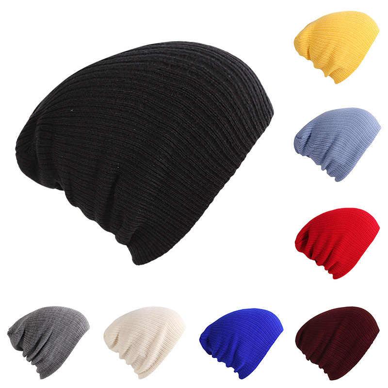9a7b9305214 Cotton Blends Soft Beanies Men Outdoor Slouchy Warm Ski Knitted Hat Female  Winter Bonnet Hip Hop