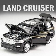 KIDAMI 1:32 Giocattolo Auto Toyota Land Cruiser Pressofuso In Lega SUV Modello di Auto Tirare Indietro Giocattoli Per Bambini In Metallo Off road veicoli Regalo машинки