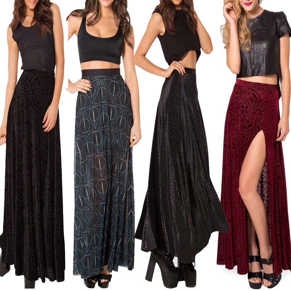 92363e4b4e3ed SheOutfit Saias Femininas 2014 Winter Skirts Burned Velvet Long Skirt Maxi  Skirts Black Long Skirt Elegant Ball Gown-in Skirts from Women s Clothing  on ...