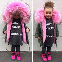 2019 Girls Winter Coats Jackets Toddler Girl Clothes Big Fur Parkas Zipper Children Overcoats Filled Feather Fuax Fur Clothes