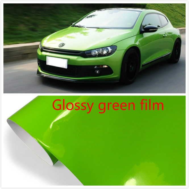 600mmx1520mm  Glossy green  vinyl   Auto Car Styling Car and motorcycle sticker Vinyl Wrap Film  Air Release Sticker Decal Sheet glossy film vinyl sticker on car jdm graffiti car sticker bomb wrap stickers motorcycle accessories full car decals car styling