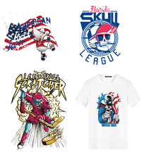 Iron on Transfers for Clothing Applications Punk Skull Patchs Heat Transfer Fusible Stickers Badges Decor DIY T-shirt E