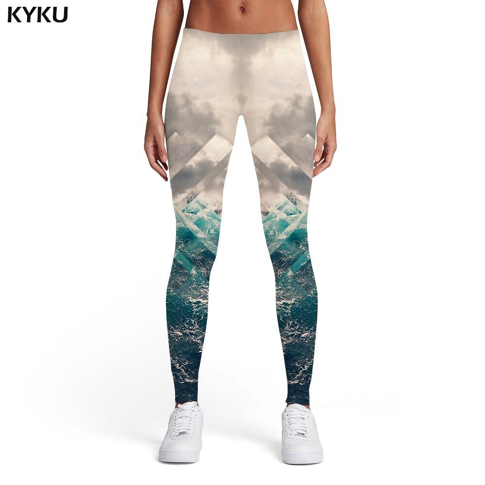 KYKU Geometric Flower   Leggings   Women Wave 3d Print Ocean Spandex Harajuku Sport Gothic Ladies Womens   Leggings   Pants Jeggings