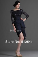 Black 3/4Long-sleeves Mother of the Bride Dresses Top grade Sccop Sheath Knee-length Sequin Ruffle yk-8B02