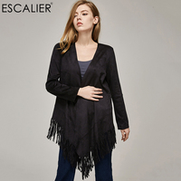 Escalier Women Coat Suede Long Coats With Fringe Open Stitch Outerwear Tassel Design Regular Sleeves Casual