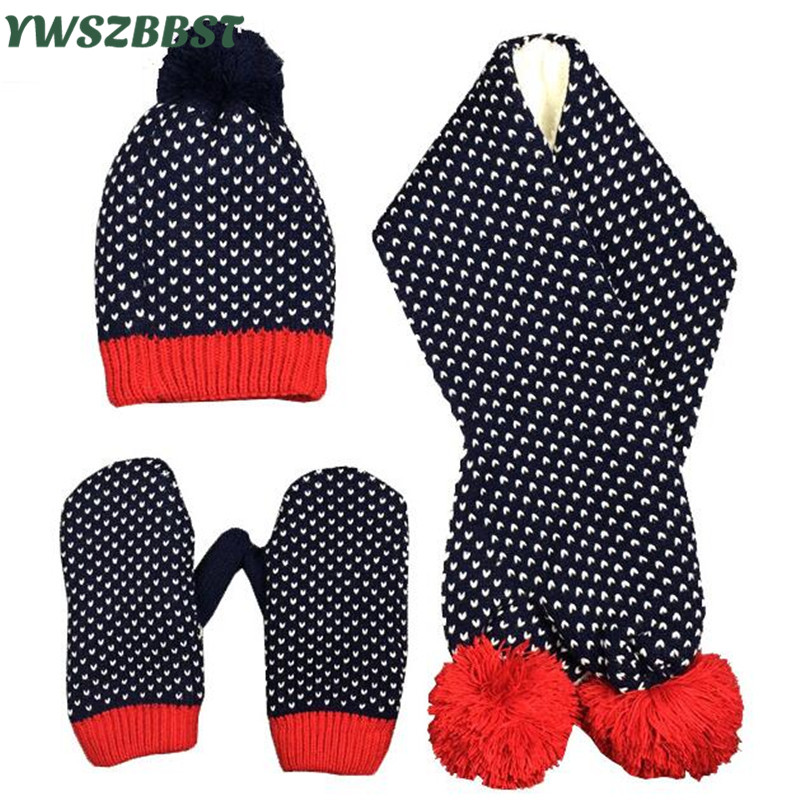 New Fashion Love Stars Baby Hat Scarf for Girls Crochet Winter Baby Caps for Boys Kids Children Hat Scarf Gloves set fit 1 to 6Y solid color baby hat scarf for boys girls autumn winter children hat scarf set kid knit cap new fashion beanie caps fit 1 4y