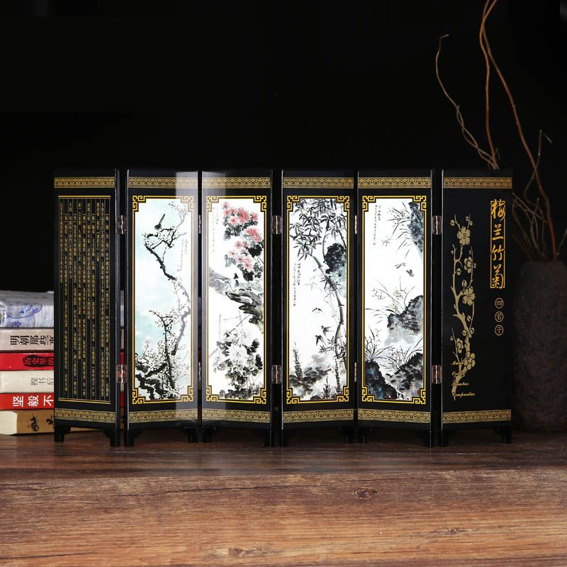 Folding Screen Table Decoration Chinese Style Ornaments Antique Lacquer Mini Room Dividers Wooden Arts