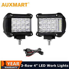 Auxmart 2 шт. 4 дюймов 57 Вт сбоку световой индикатор работы света вождение автомобиля лампы Offroad свет бар Combo для 4×4 грузовики внедорожники