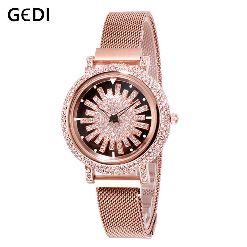 GEDI Rotatable Dial Luxury Women's Watches Rhinestone Top Lady Clock Watches for Women Magnet Strap Quartz Female Wristwatch New