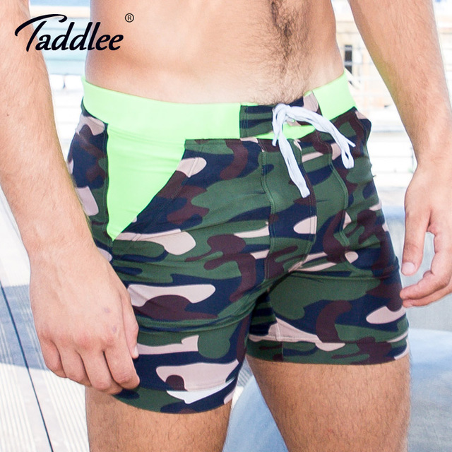 Taddlee Brand Sexy Men's Swimwear Swimsuits Shorts Gay Plus Size Long Basic Camo Board Boxer Trunks Pockets