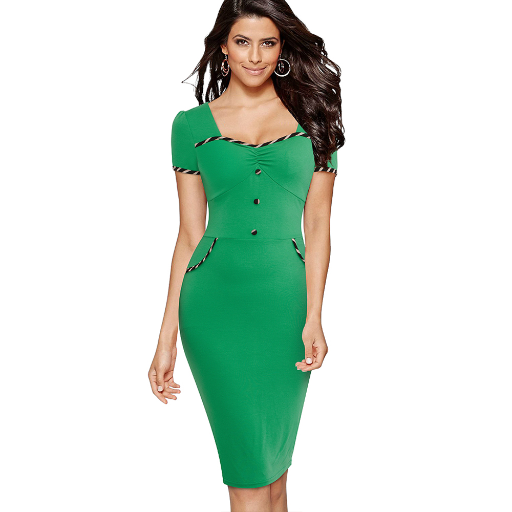 Casual Wear To Work Office Lady Dress Women Elegant Green Summer Bodycon Slim Pencil Dress 1E729
