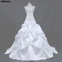 Sexy Strapless White Wedding Dress Sequined Beaded Elegant Wedding Dresses Taffeta Bridal Gowns Draped Chic Vestidos