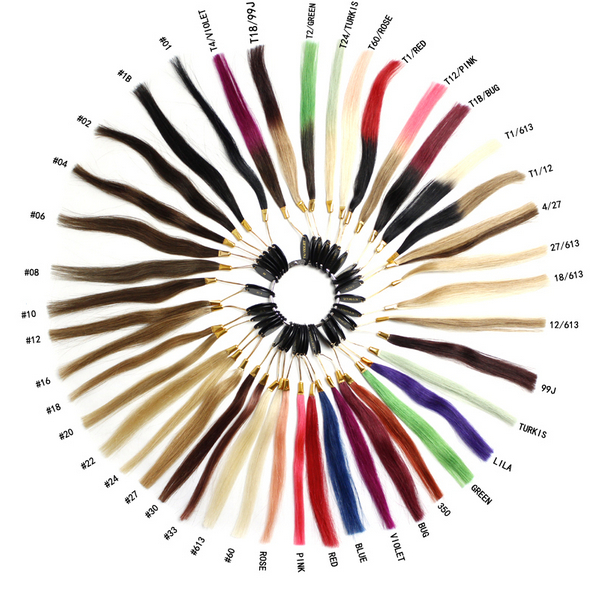 Human Natural hair COLOR RING / COLOR CHART / COLOR WHEEL for
