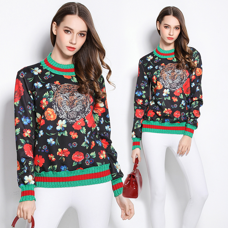 Italy Luxury Brand Sweatshirts 2018 Women Top Brand Green Red Striped Patchwork Tiger And Floral Printed Beatuiful Hoody Blouse
