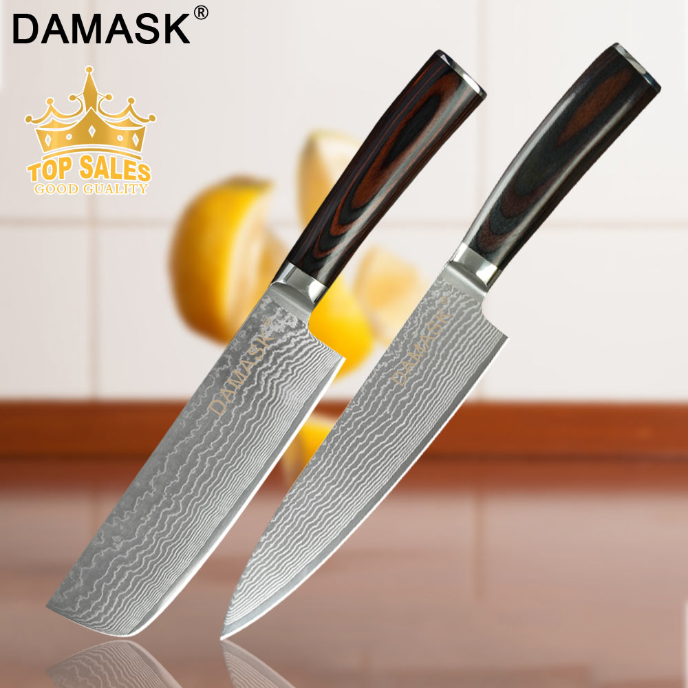 Damask Kitchen Knives Set 8 Chef 8Slicing 7 Santoku Chopping Professional Japan Damascus Steel Fish&Meat Knife